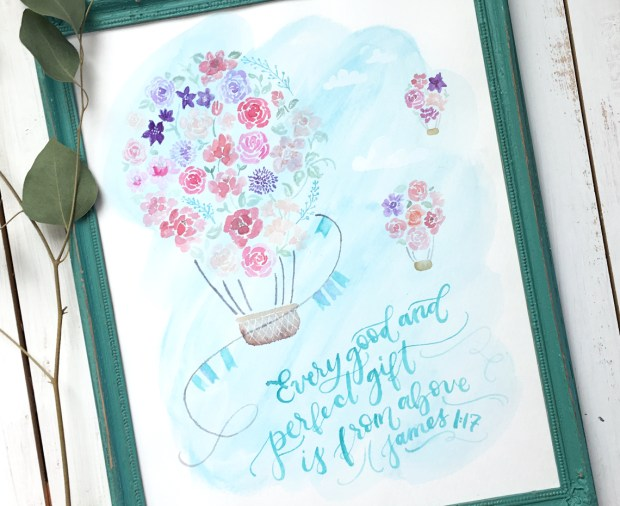 Sam Allen Creates Watercolor Hot Air Balloon Nursery Art for Baby Girl