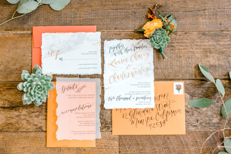 Sam Allen Creates Wedding Invitation Suite on Handmade Paper with Marbling - Image by Harper & Grace Photography