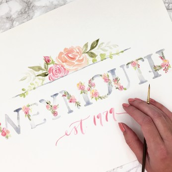 Sam Allen Creates Floral Watercolor Last Name Sign - Weymouth