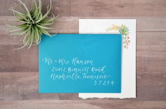 Sam Allen Creates - Boho Wedding Invitation with Watercolor Succulents and Flowers - Envelope Addressing