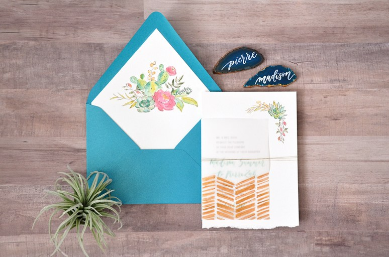 Sam Allen Creates - Boho Wedding Invitation with Watercolor Succulents and Flowers Vellum Wrap