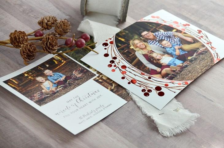Sam Allen Creates Custom Christmas Card Design with Red Foil Berry Wreath