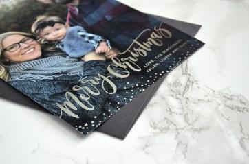 Sam Allen Creates Custom Christmas Card Design with Silver Foil Brush Calligraphy