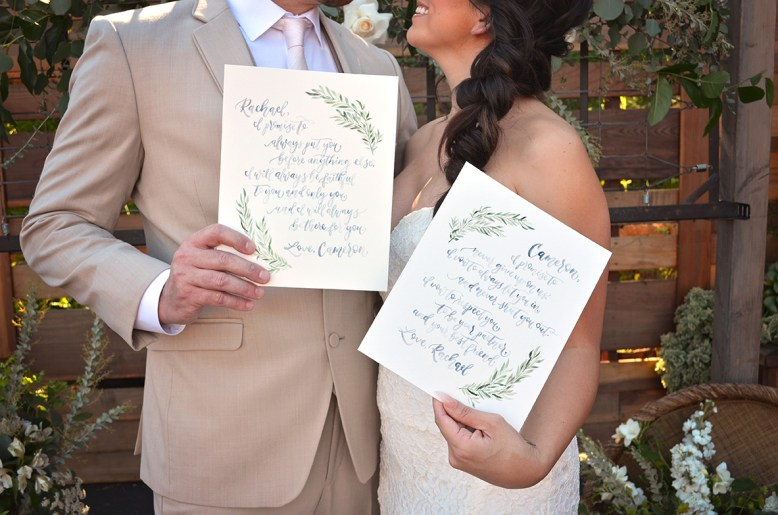 Sam Allen Creates Handpainted Watercolor Wedding Vow Art, Photo by Megan Doss