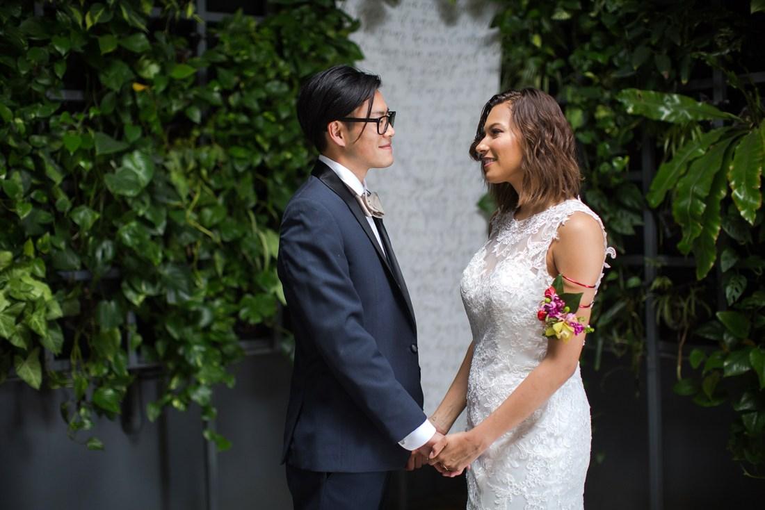 Sam Allen Creates Handwritten Fabric Hanging Banner for Wedding Ceremony Backdrop - Photo by Danielle Unger
