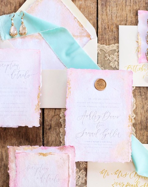 Sam Allen Creates Watercolor Wash Wedding Invitation at Grace Winery, Photography and Styling by Abbe Foreman Main