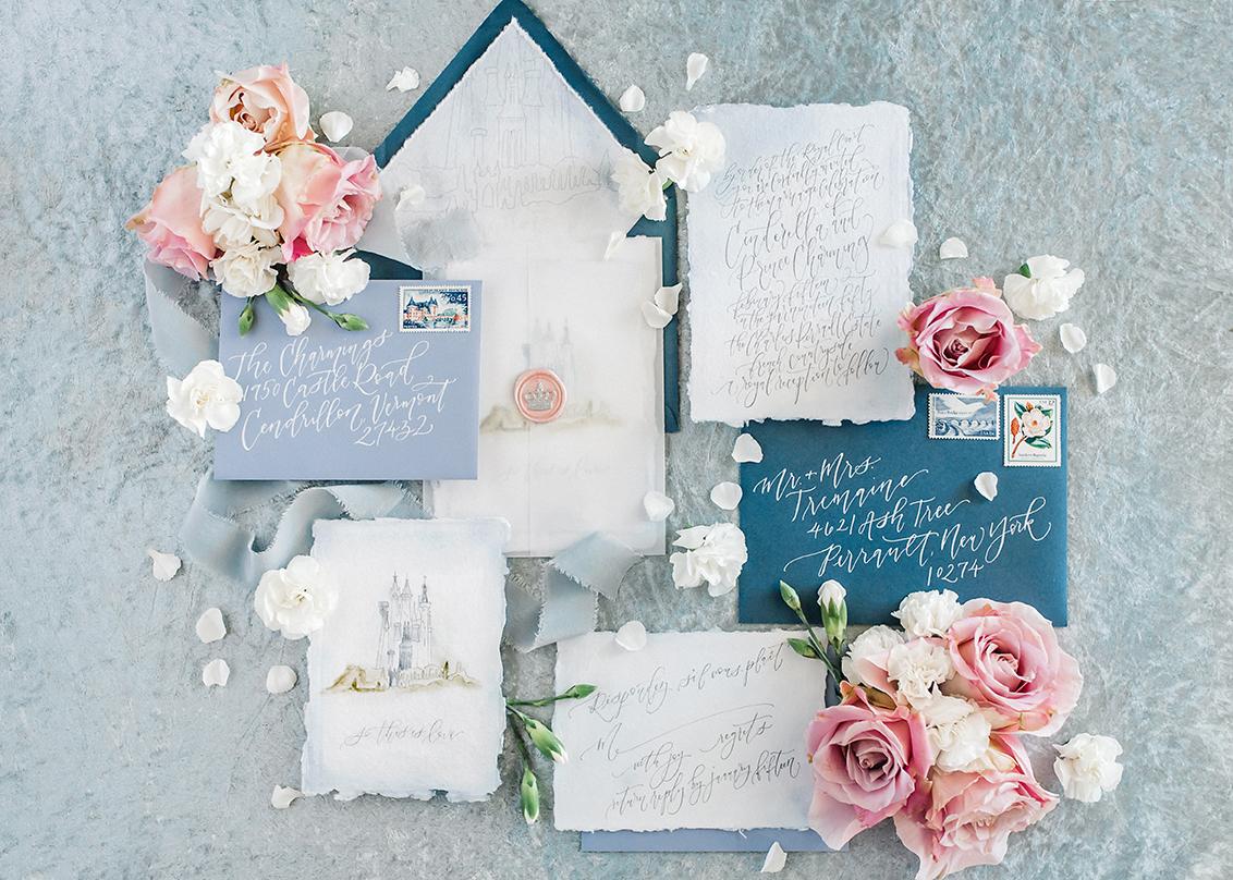 Sam Allen Creates – Disney Inspired Cinderella Wedding Invitation – Invitation Suite Flatlay