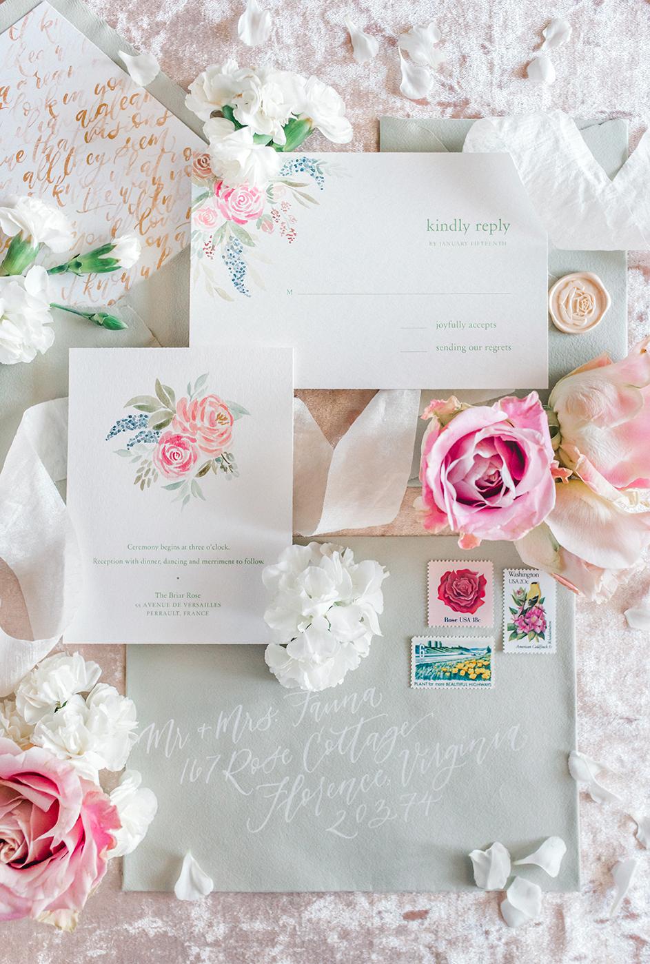 Sam Allen Creates – Disney Inspired Sleeping Beauty Wedding Invitation – Reply Card Detail