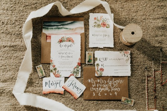Sam Allen Creates - Watercolor Boho Wedding Invitation - Joshua Tree-Invitation Flatlay - photo by Molly McElenney
