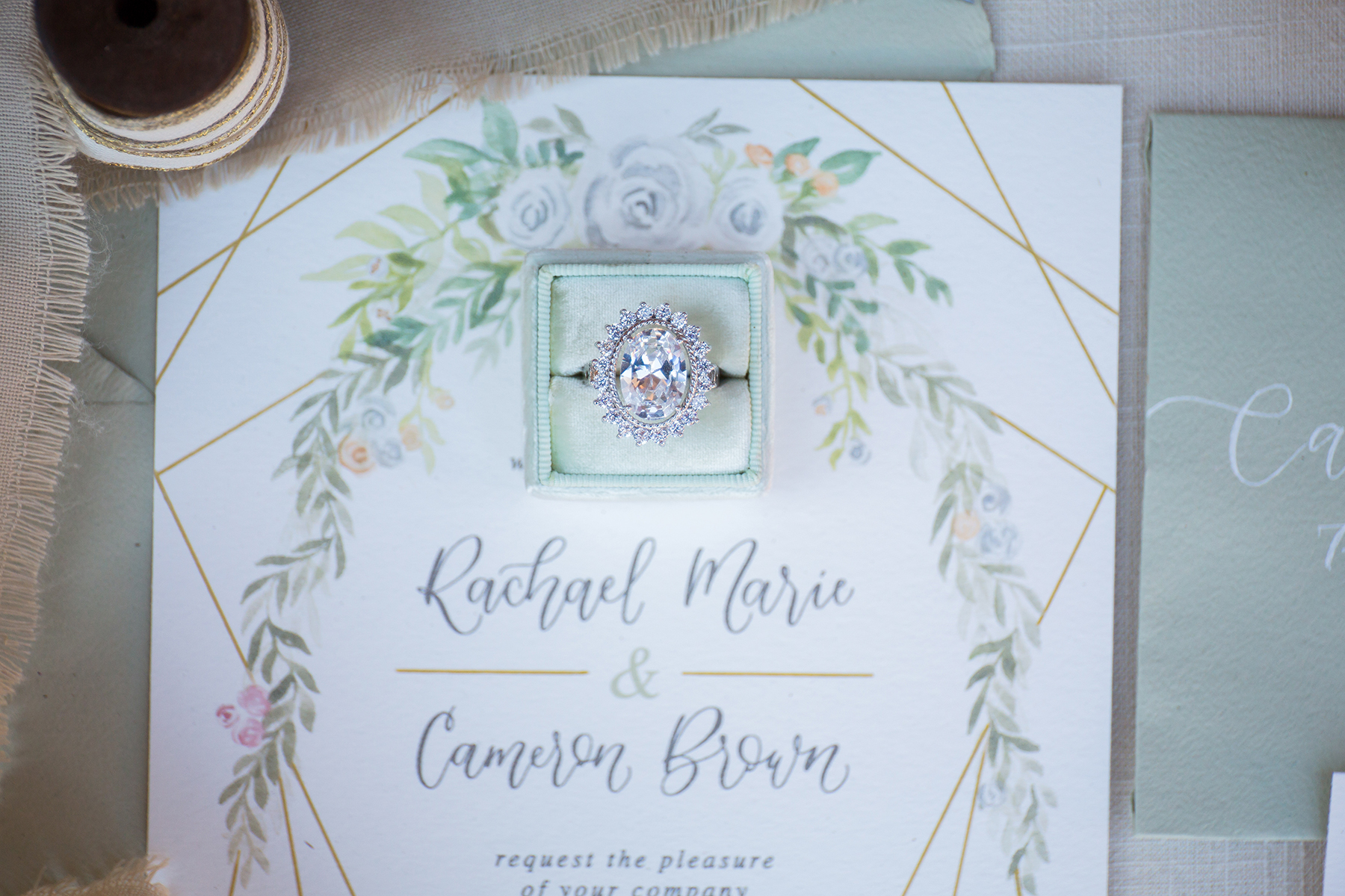 Sam Allen Creates – Watercolor Floral Wedding Invitation Detail – photo by CarstenTicePhotography