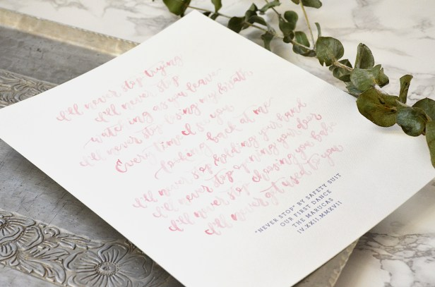 Sam Allen Creates - Watercolor Wedding Vow and Song Lyrics