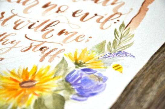 Sam Allen Creates - Psalm 23 Sunflower Watercolor Painting Detail1