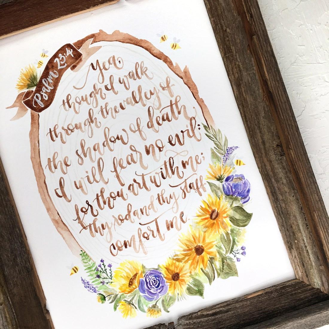 Sam Allen Creates - Psalm 23 Sunflower Watercolor Painting