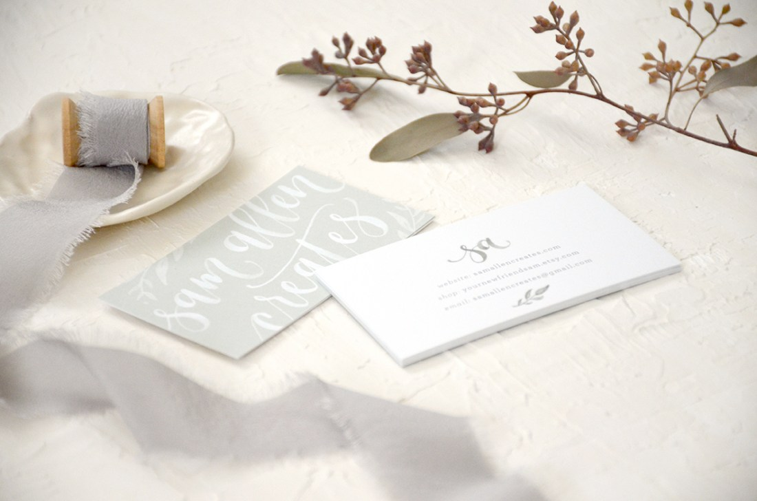 Sam Allen Creates - Watercolor Calligraphy Logo and Business Cards