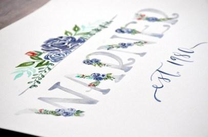 Sam Allen Creates - Watercolor Floral Last Name Detail Warner