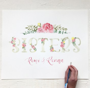 Sam Allen Creates - Watercolor Floral Nursery Artwork for Sisters