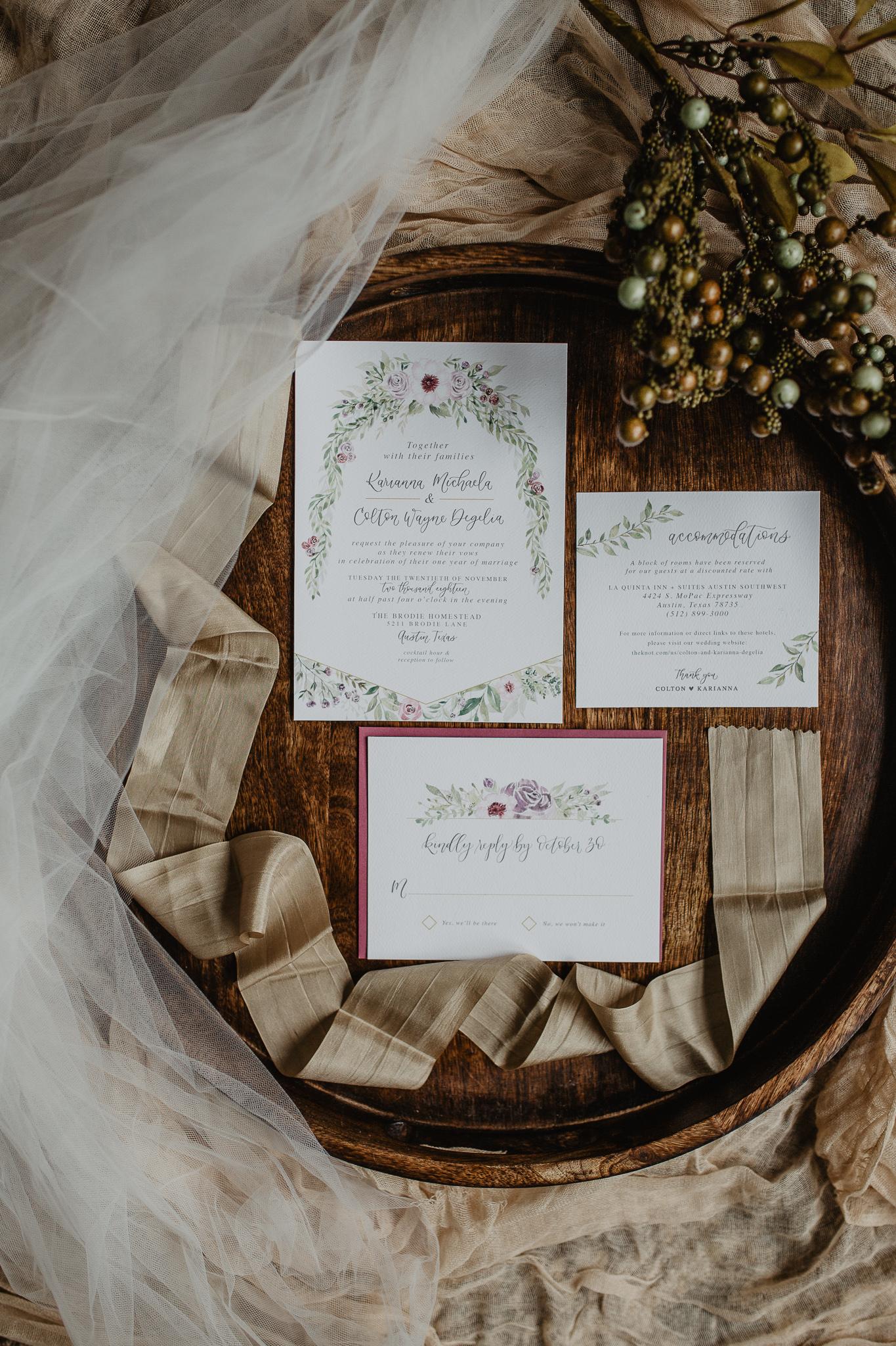 Sam Allen Creates – Watercolor Floral Wedding Invitations, Photo by Jessy Herman