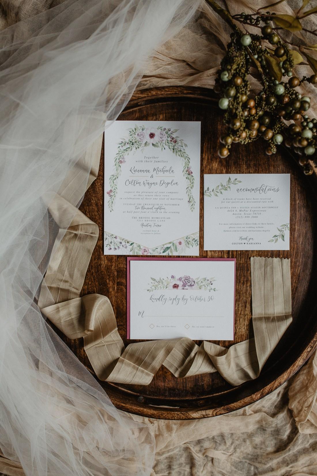 Sam Allen Creates - Watercolor Floral Wedding Invitations, Photo by Jessy Herman