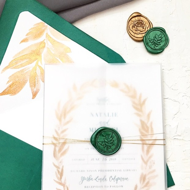 Sam Allen Creates Emerald and Gold Wedding Invitation Suite