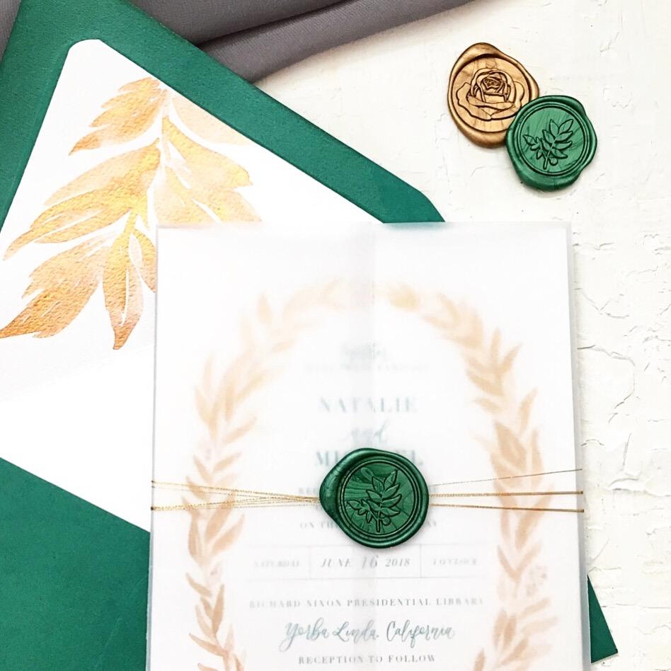 Sam Allen Creates Emerald and Gold Wedding Invitation Suite