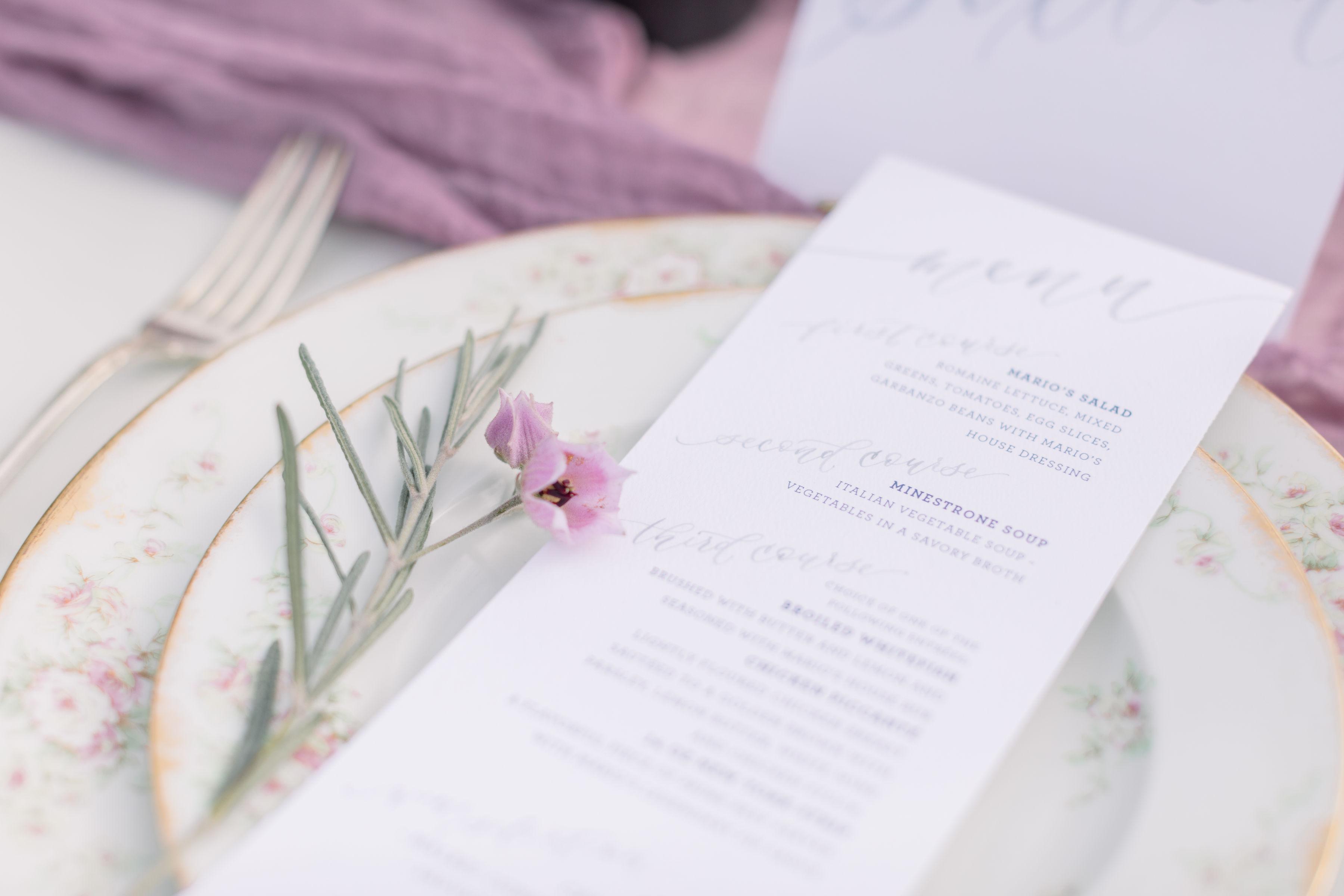 StephanieWeberPhotography-Gray and Purple Tablescape – Sam Allen Creates Watercolor Menus