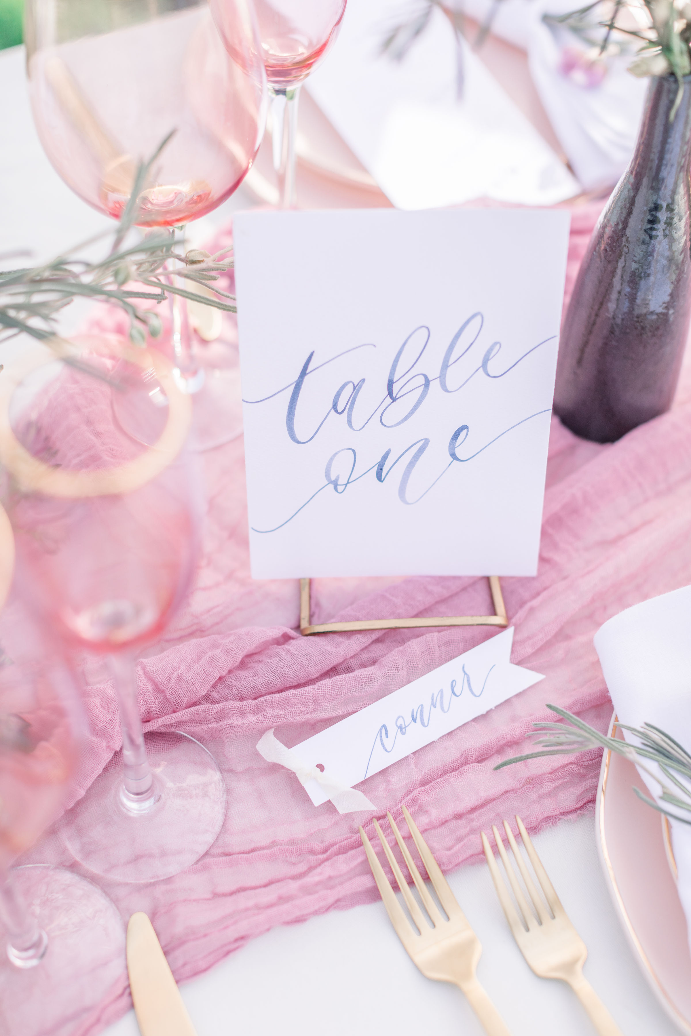 StephanieWeberPhotography-Navy and Pink Wedding Tablescape – Sam Allen Creates Table Number Cards