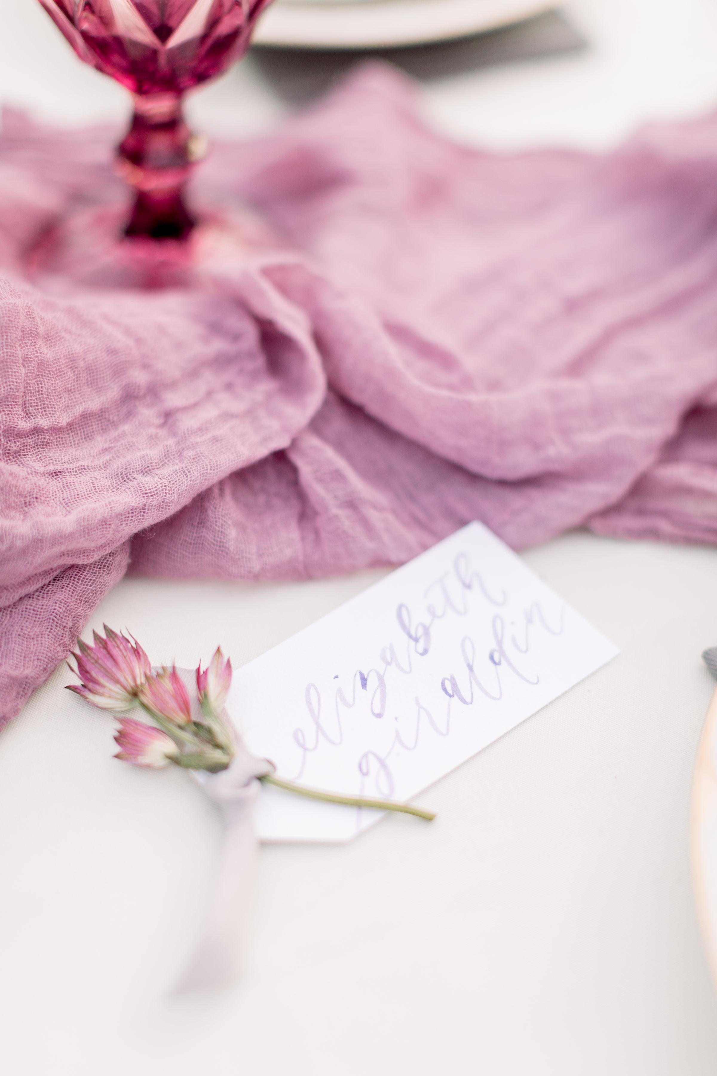 StephanieWeberPhotography-Purple Wedding tablescape – Sam Allen Creates Watercolor Placecards