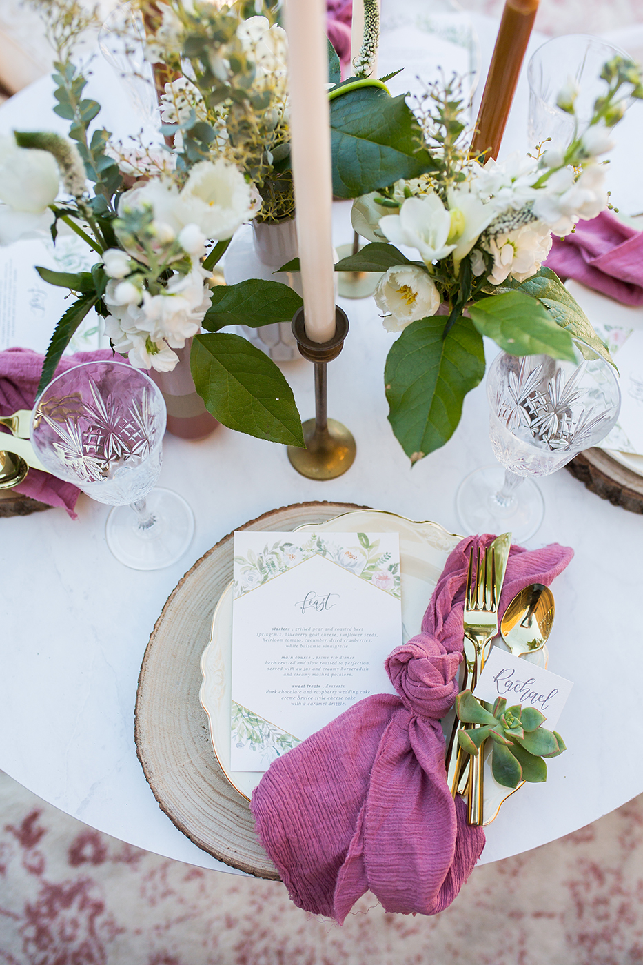 CarstenTicePhotography_Lot8-Boho-Wedding-Reception-Menu-and-Placesettings-with-Succulent-Placecard-by-Sam-Allen-Creates