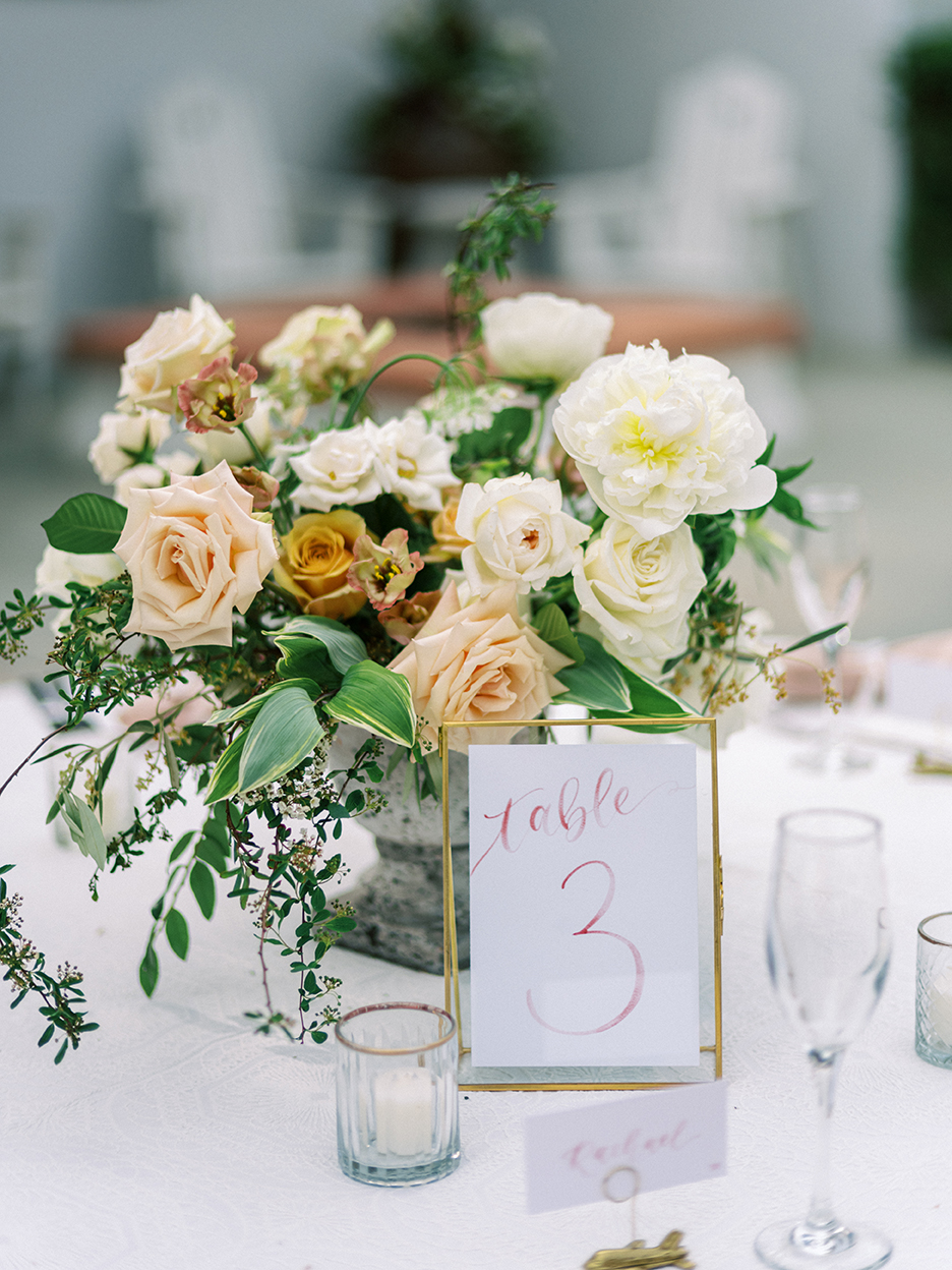 Courtney and John Travel Themed Wedding – Daniel Kim Photo 25 – Dusty Rose Watercolor Table Number by Sam Allen Creates