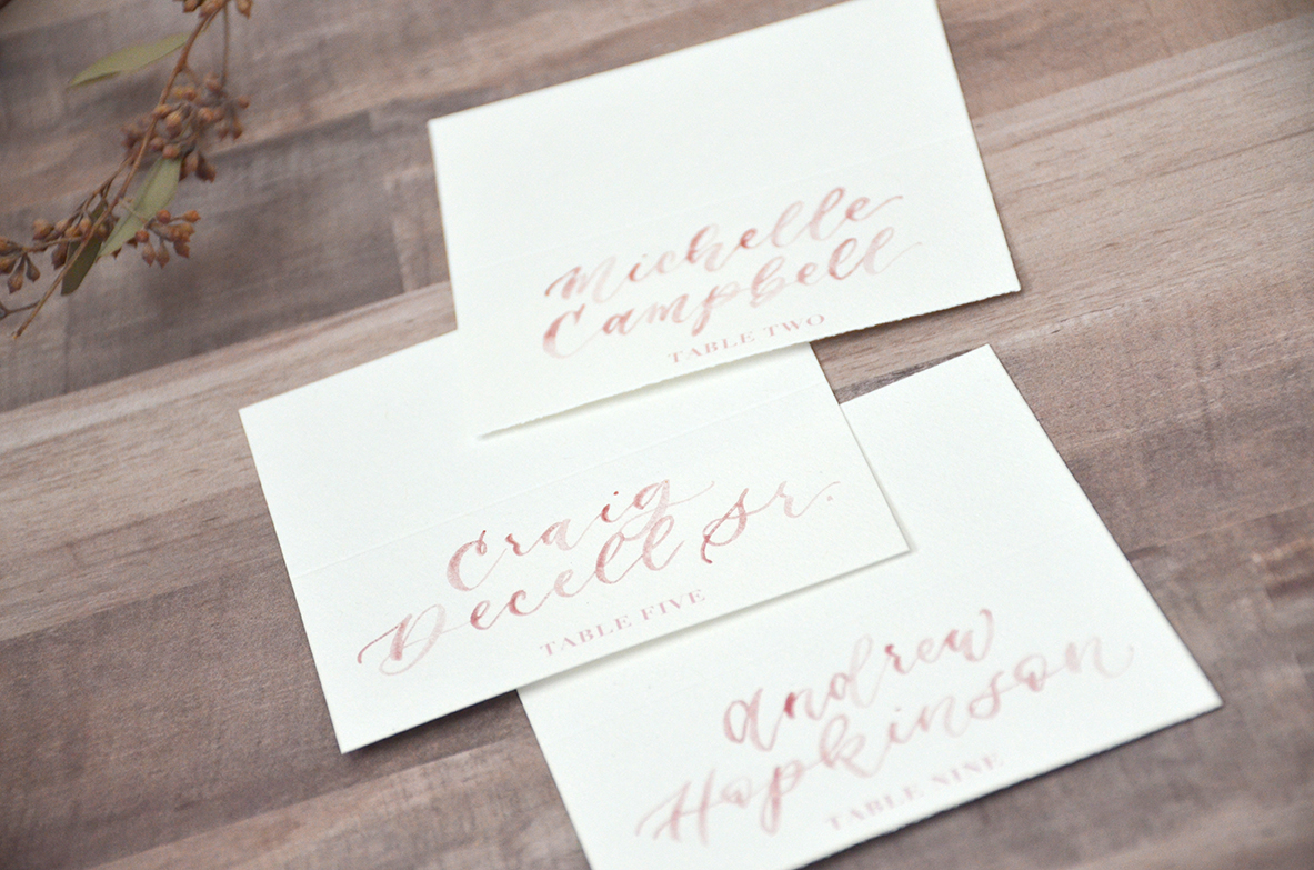 Dusty Rose Watercolor Brush Calligraphy Table Number Tent Cards Escort Cards for Wedding Reception by YourNewFriendSam on Etsy