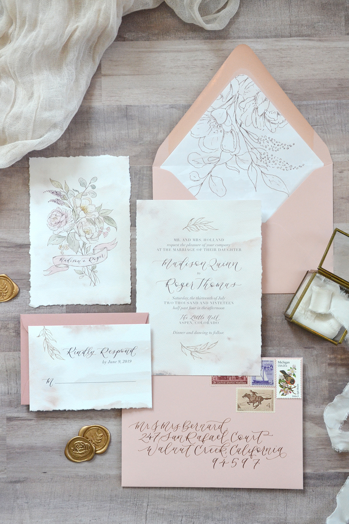 Sam Allen Creates Rose and Floral Botanical Illustrated Wedding Invitation Suite with Handtorn Edges