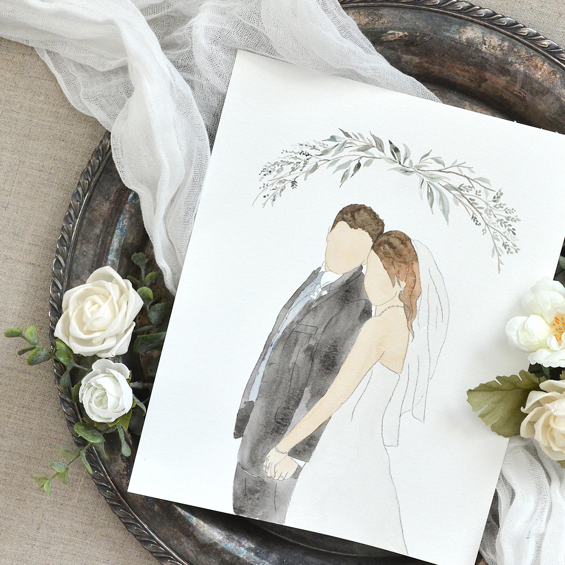 Sam Allen Creates – Watercolor Faceless Wedding Portrait for Paper Anniversary Gift