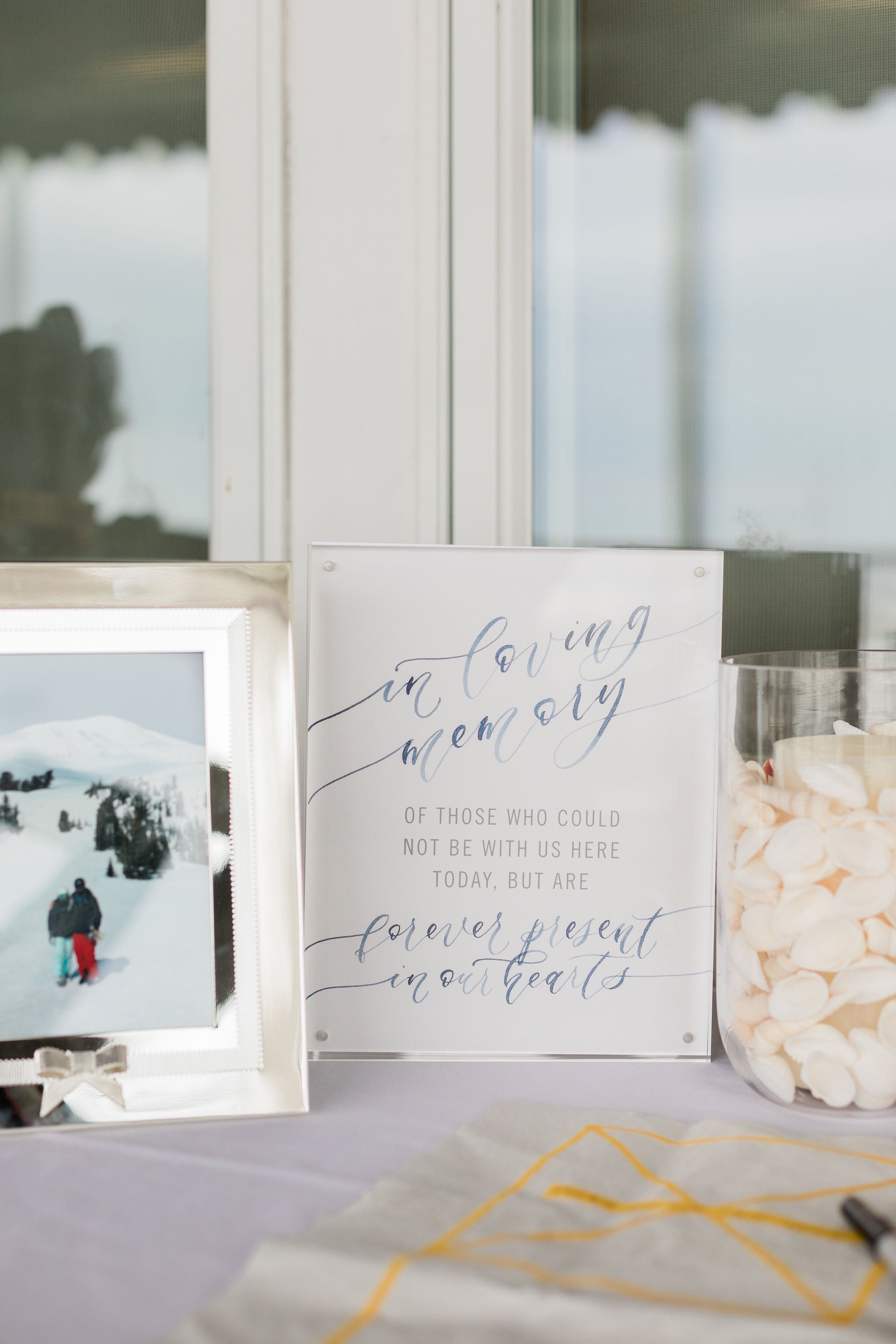 Sam Allen Creates – Watercolor Calligraphy Wedding Sign, In Loving Memory Forever Present in our Hearts – Morgan O'Neil Photography