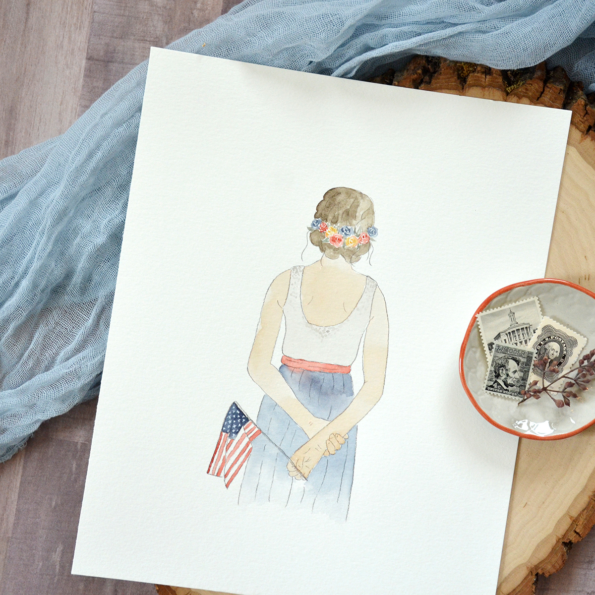 Sam Allen Creates – Watercolor Portrait of 4th of July Patriotic Woman with Floral Wreath