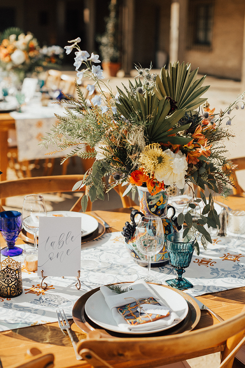 Sam Allen Creates Watercolor Table Numbers and Name Tag Placecards, Heirlume Photography