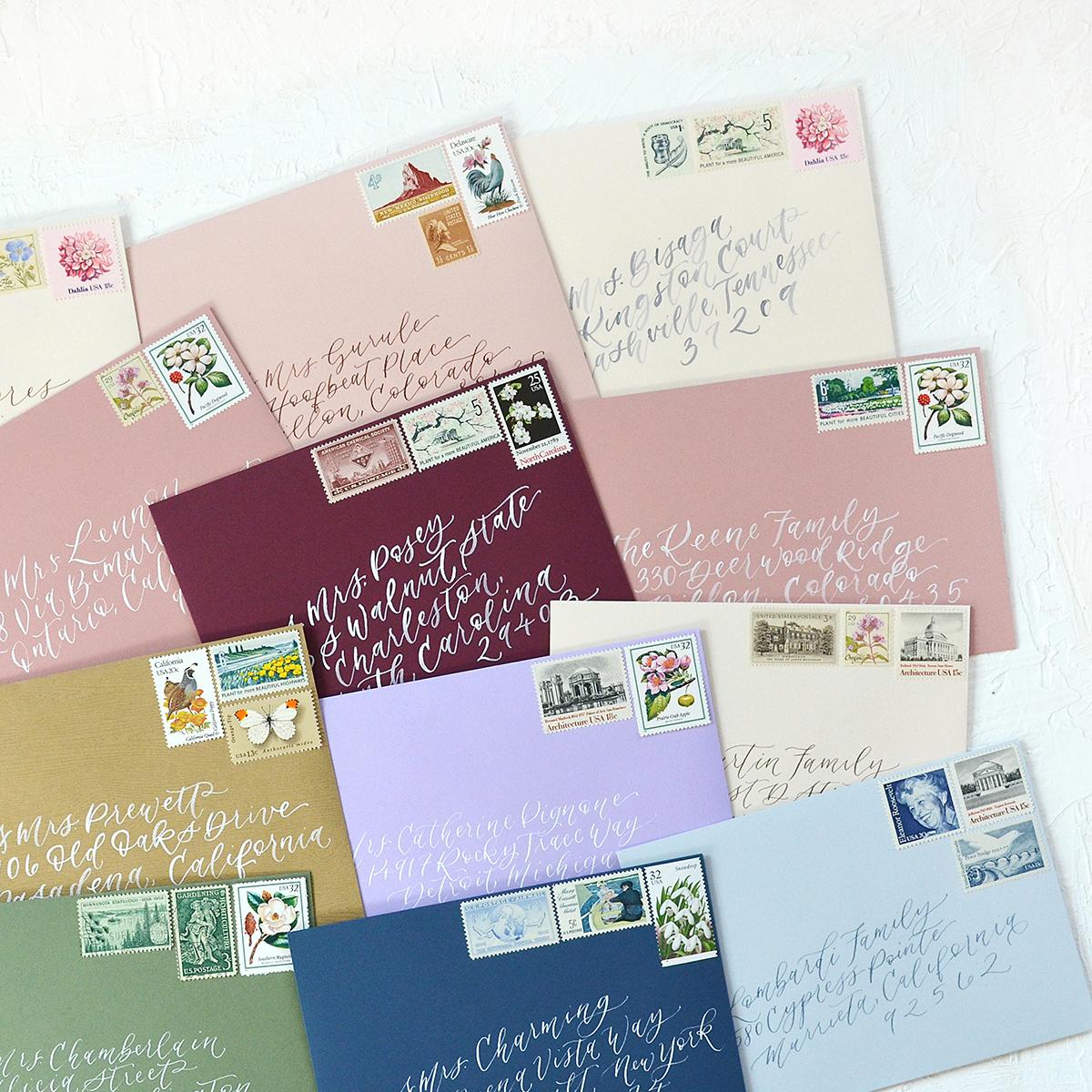 Sam Allen Creates Wedding Invitation Envelope Addressing Watercolor Calligraphy