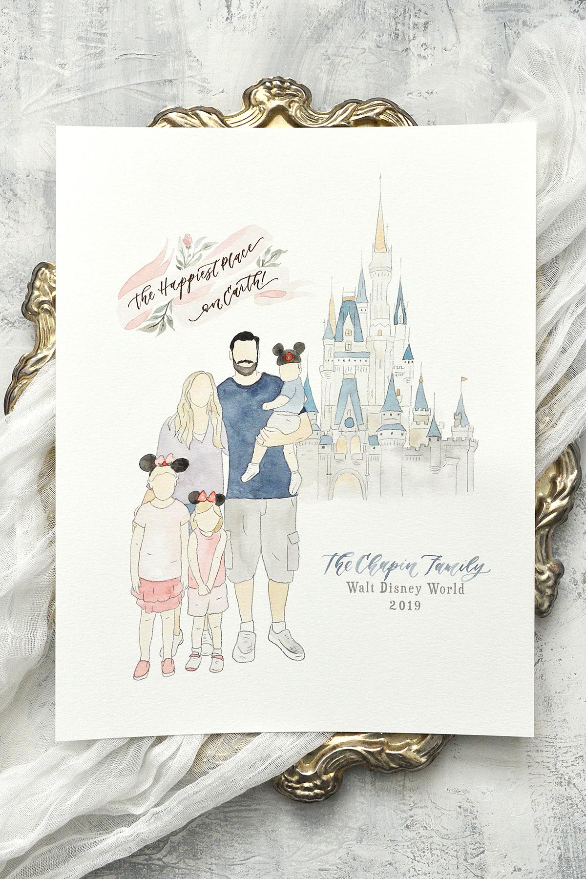 Faceless Watercolor Family Portrait at Walt Disney World, Vacation Keepsake by Sam Allen Creates – YourNewFriendSam on Etsy