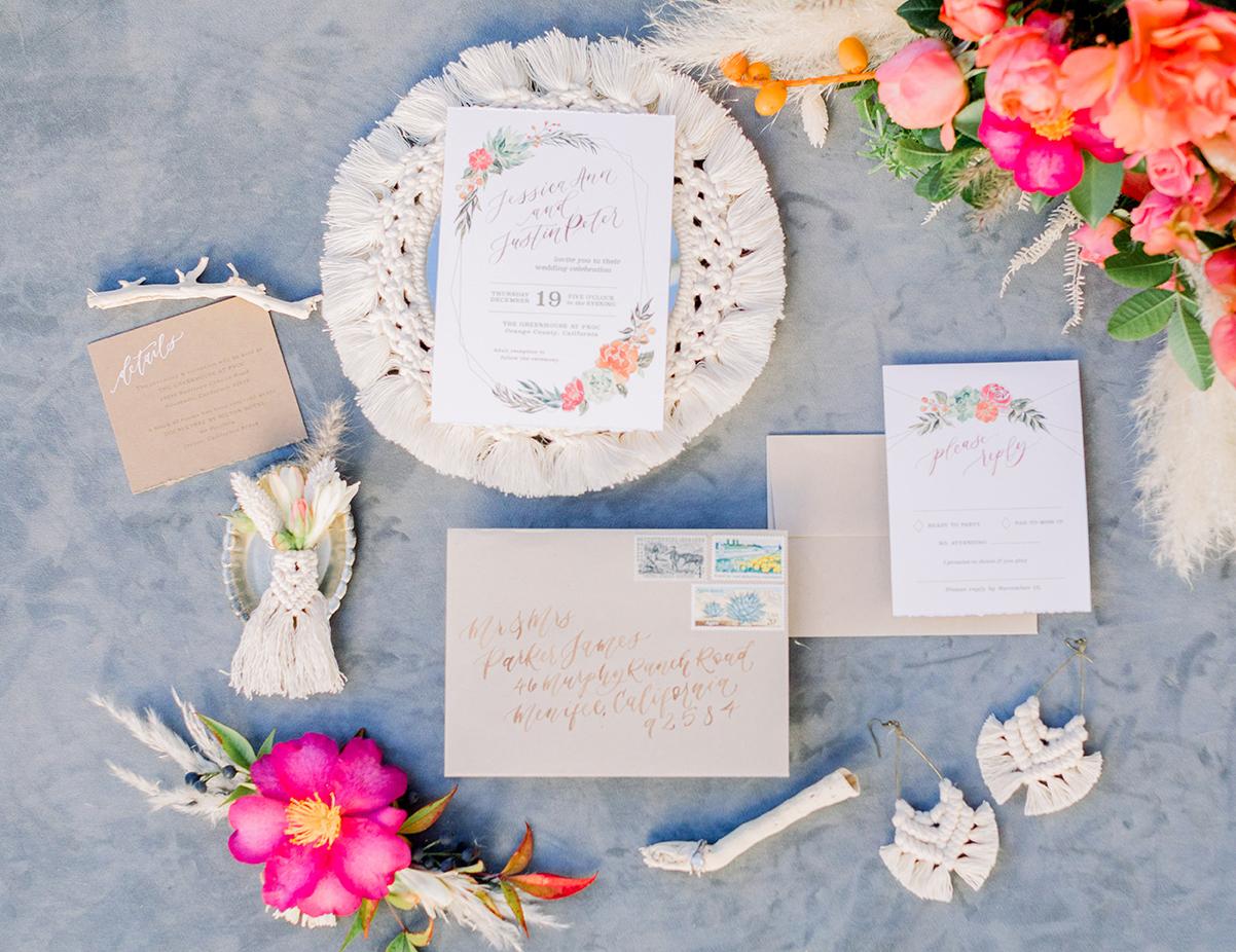SWP-TheGreenhouse Boho Wedding Inspiration-Sam Allen Creates Wedding Invitation with Succulents