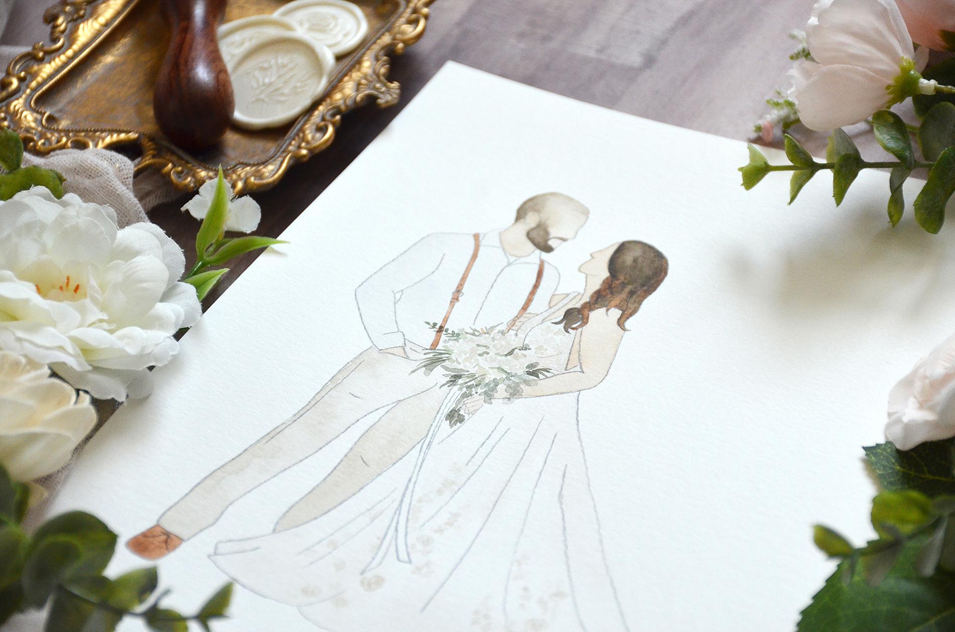 Sam Allen Creates – Faceless Watercolor Wedding Portrait Gift Idea, Courtney detail