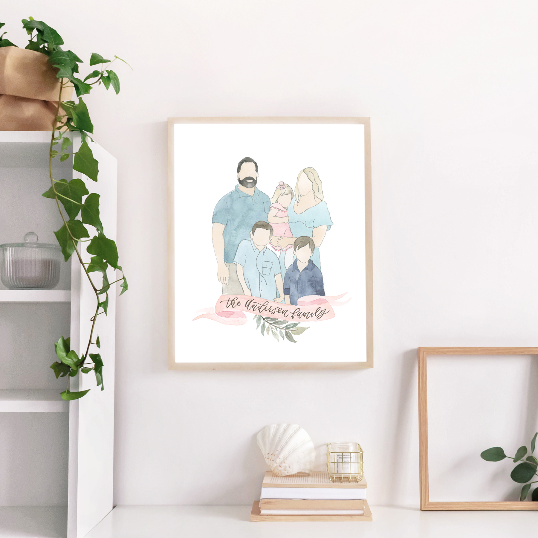 Sam Allen Creates – Watercolor Faceless Family Portrait for Gallery Wall, Anderson
