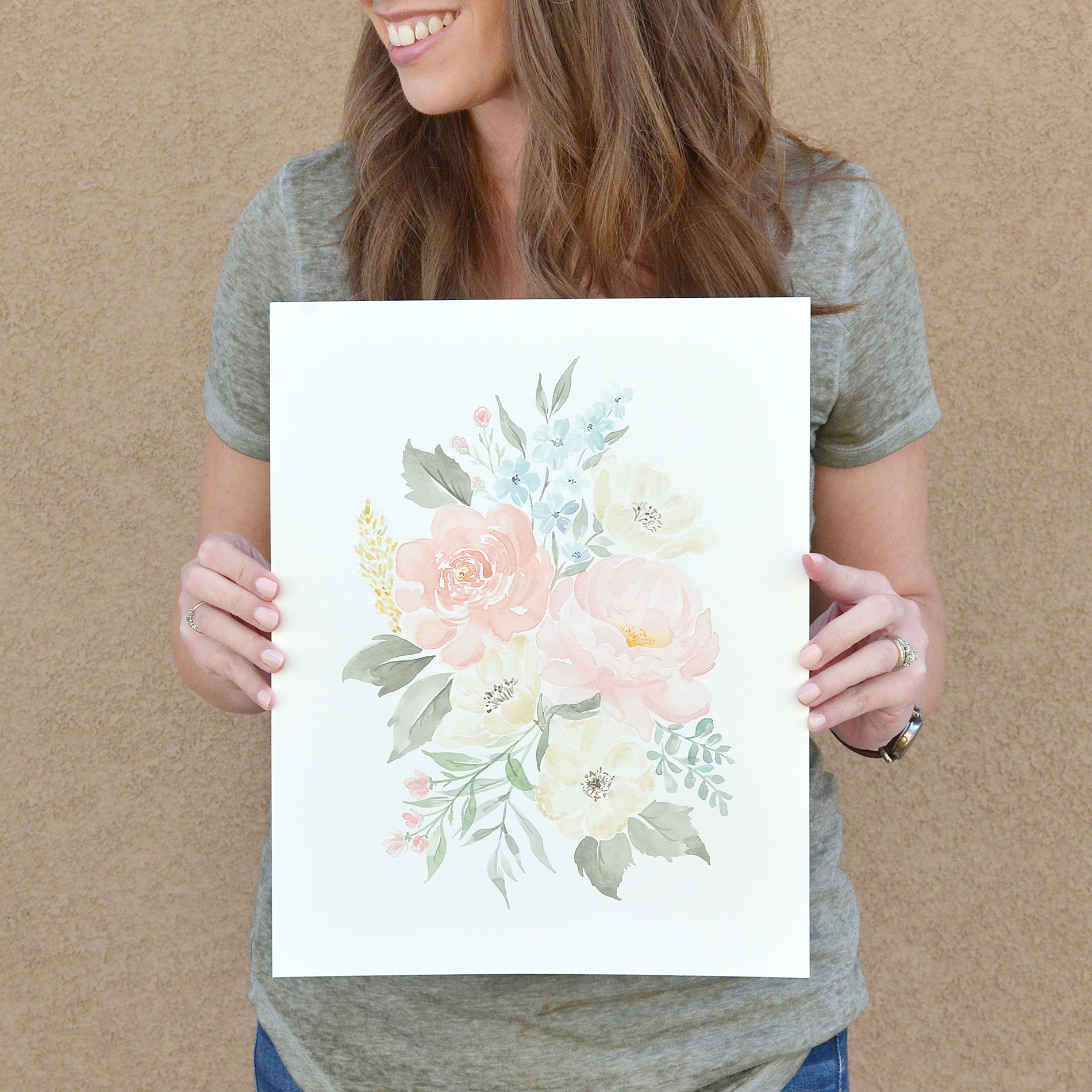 Sam Allen Creates – Custom Painted Watercolor Floral Bouquet for Baby Girl Nursery