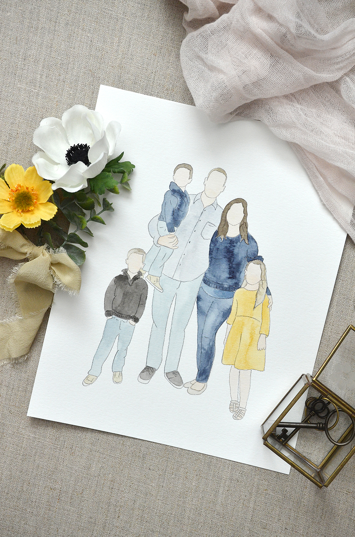 Sam Allen Creates – Sears Faceless Family Watercolor Portrait