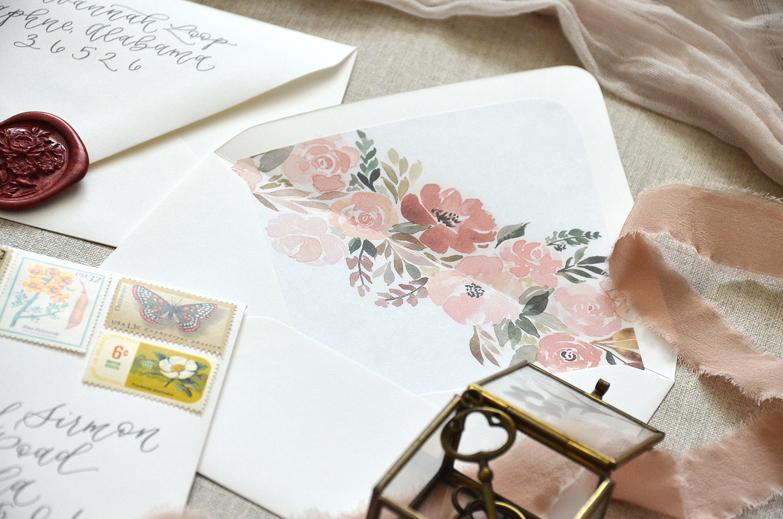 Sam Allen Creates – Wedding Inner Envelope with Fall Floral Envelope Liner