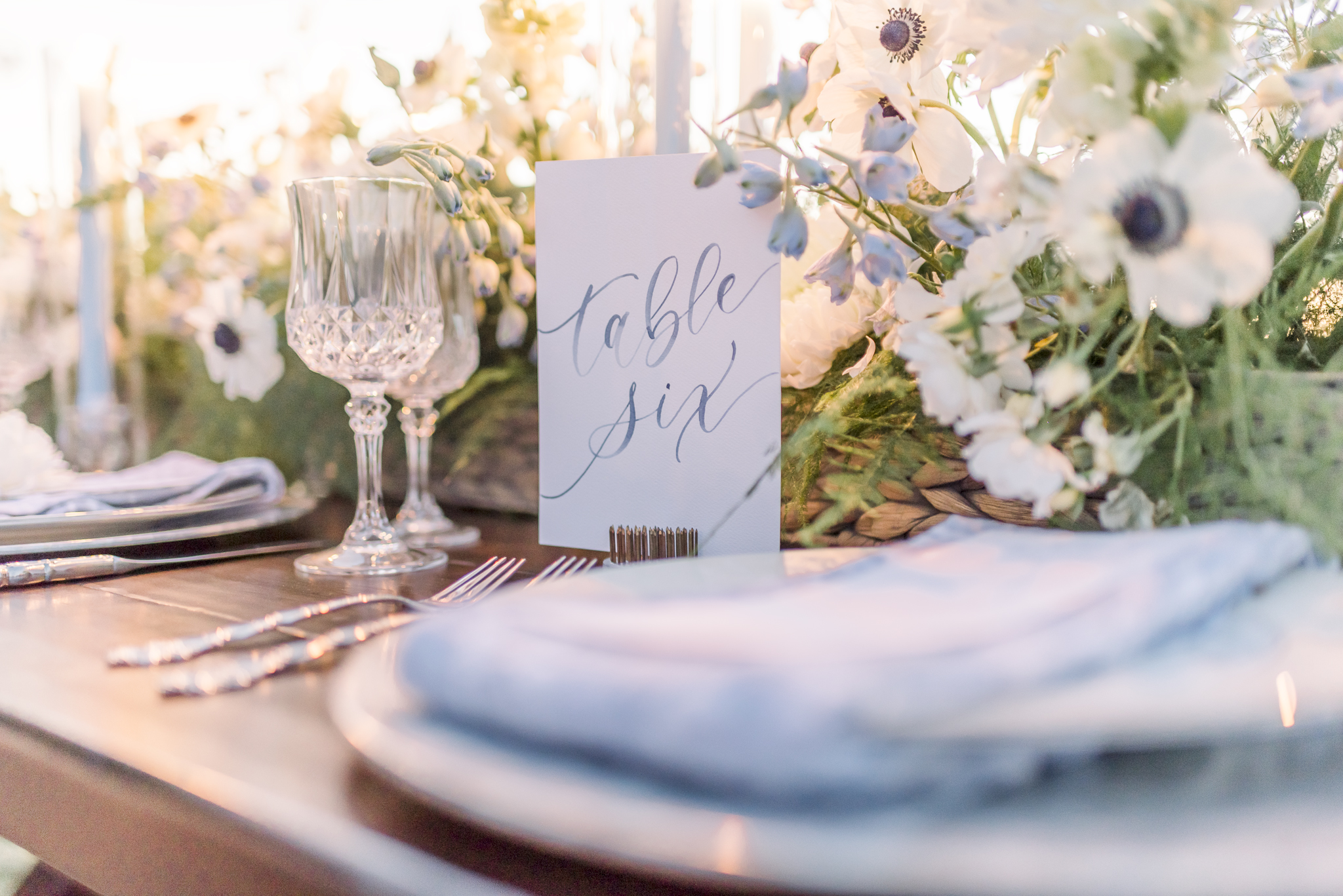 Sam Allen Creates, Navy Watercolor Table Number with new Creation Floral