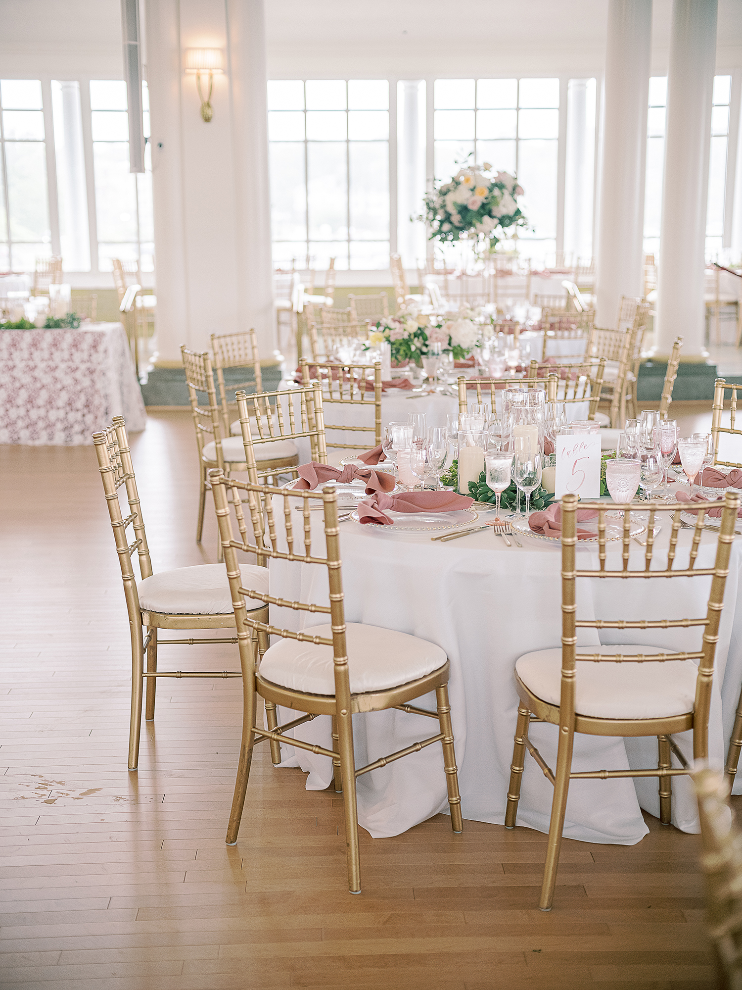 Christina Dusty Rose and Gold Wedding Ballroom Reception with Watercolor Table Numbers Clary Pfeiffer Photography