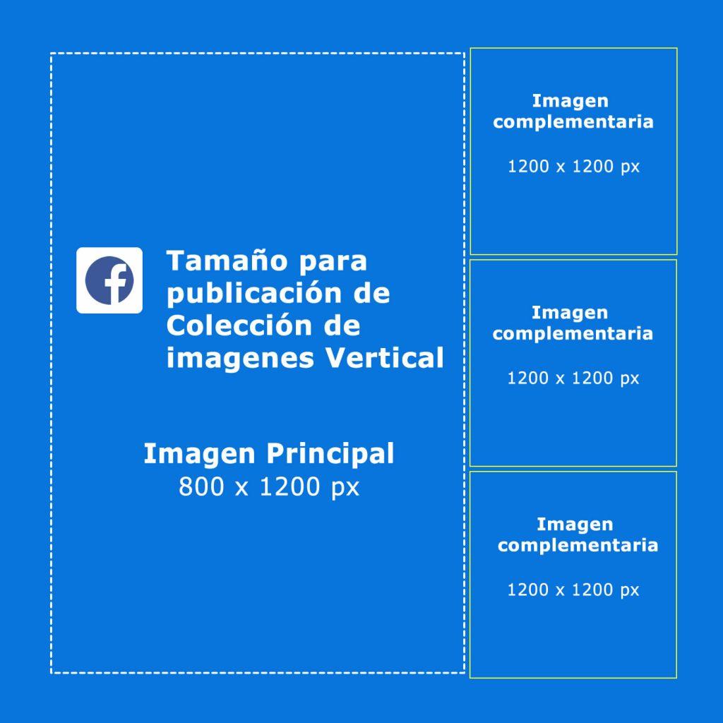 tamaño y medida de imagene para publicación de colección de facebook vertical