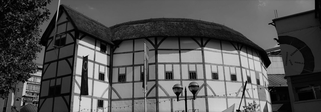 black and white image of Shakespeare's Globe