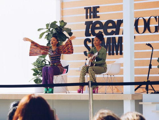 Chloe and Halle performing