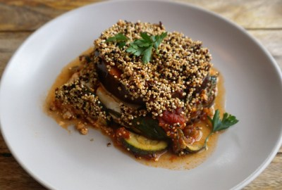 veggie eggplant lasagna quinoa crunchy topping low carb
