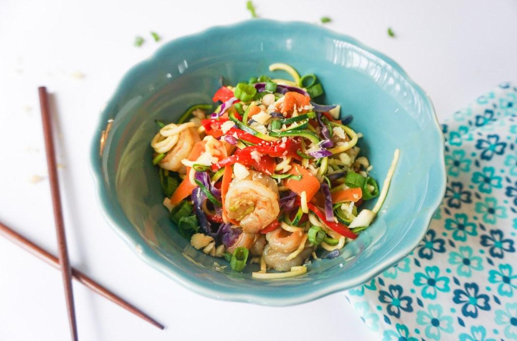 gluten free low carb healthy dinner peanut shrimp noodles